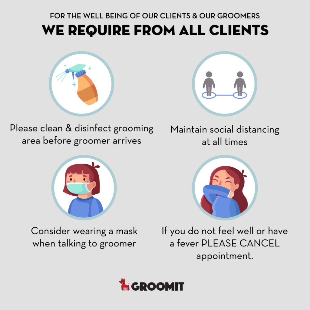 we require from all clients to clean and disinfect grooming areas before groomer arrives, keep social distancing, consider wearing a mask when talking to groomer, if you feel sick please cancel appointment